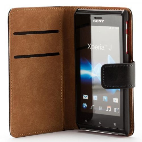 ECENCE Sony xperia J ST26i handy tasche case Brieftasche Wallet klapp schutz hülle cover inklusive Displayschutzfolie Book-Style mit Standfunktion Standfuss schwarz 11040404