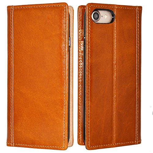 iPhone 7 Case -- iPulse Genuine Italian Full Grain Leather Handmade Flip Wallet Case For iPhone 7 - [Vintage Book Style ] [Built-in Stand] [Card Slots Holder] - Cognac (Italian Leather Cell Phone Case compare prices)