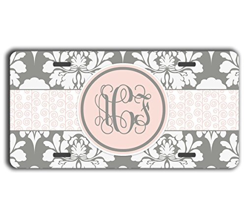 To Gild The Lily® Floral monogram license plate - Gray and pink damask - Personalized car tag car accessory (Unusual License Plate Frames compare prices)