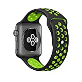 Apple-Watch-Band-AWStech-42mm-Soft-Silicone-Nike-Sport-Style-Replacement-Watch-band-Strap-for-Apple-iWatch-Series-1-Series-2-BlackFluorescent-green