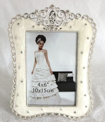 4x6 Beautiful Enamel Antique Look Rhinestone Jewelry Photo Picture Frame 9100-46