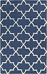 Blue Wool Rug Contemporary Design 6-Foot x 9-Foot Hand-Made Lattice Carpet