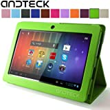 "Andteck Flip Leather Case for Zeepad 7.0, Dragon Touch A13 Q88, Y88, Chromo, Alldaymall, Tab Nero 7"" Tablet PCs w/Dual Camera [Protector/Stand] (Green)"