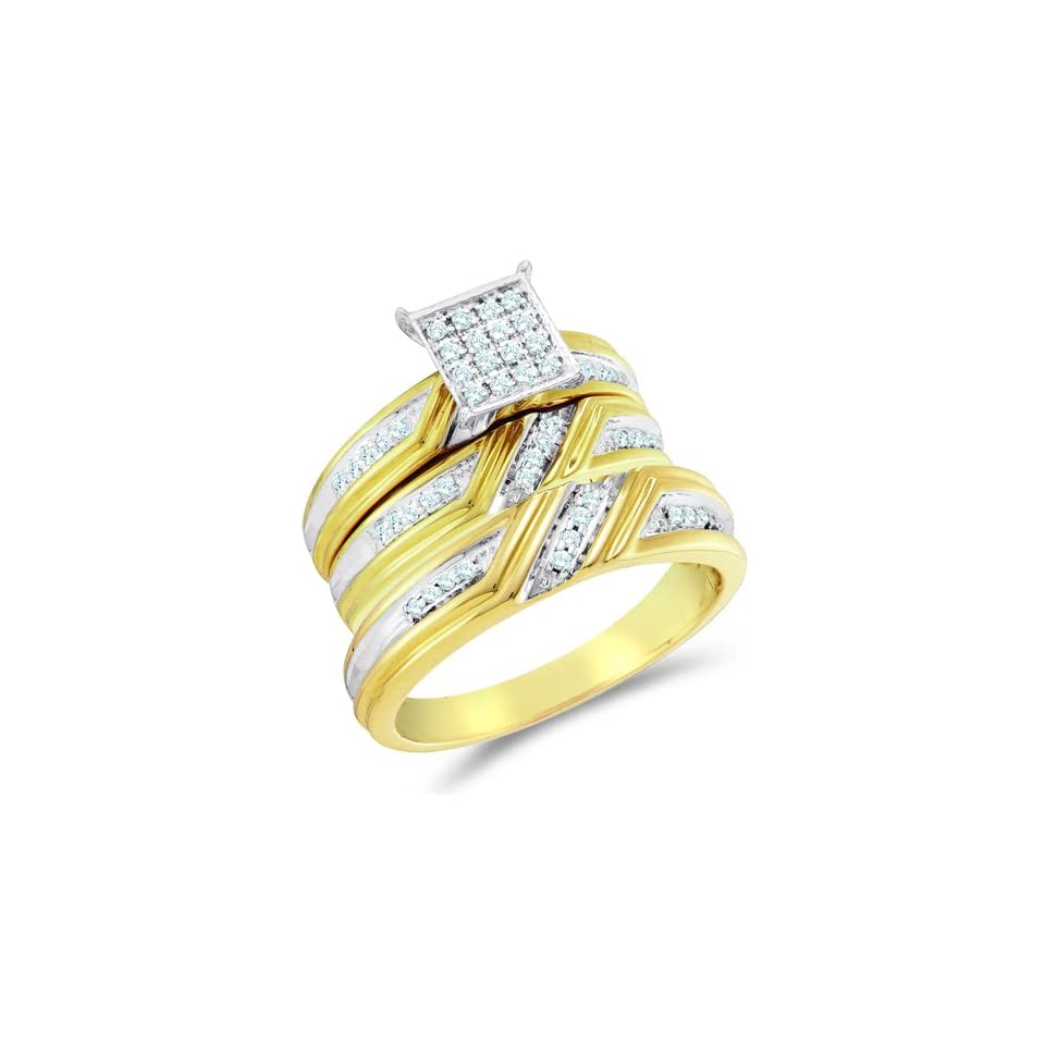 Size 7   10K Two Tone Gold Diamond Mens and Ladies Couple His & Hers Trio 3 Three Ring Bridal Matching Engagement Wedding Ring Band Set   Square Princess Shape Center Setting w/ Micro Pave Set Round Diamonds   (.29 cttw)   SEE PRODUCT DESCRIPTION TO CHOO