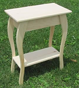 Solid Wood Unfinished End Table Pine Amish Made