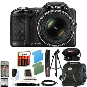 Nikon COOLPIX L830 Digital Camera (Black) + 32GB Memory Card + All in One High Speed Card Reader + Small Gadget Camera Bag + Accessory Kit