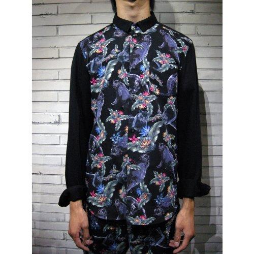 Amazon出荷/DIET BUTCHER SLIM SKIN(ダイエットブッチャースリムスキン)トロピカルシャツ(ブラック) /Yシャツ