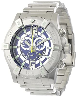 Invicta Men's 0357 II Collection Chronograph Blue Dial Stainless Steel Watch