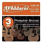 3 juegos de Cuerdas de bronze  para guitarra acústica, luz extra, D'Addario EJ15-3D Phosphor
