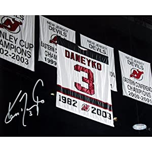 Buy NHL Ken Daneyko Retirement Night Banner In The Rafters Autographed 8-by-10-Inch Photograph by Steiner Sports