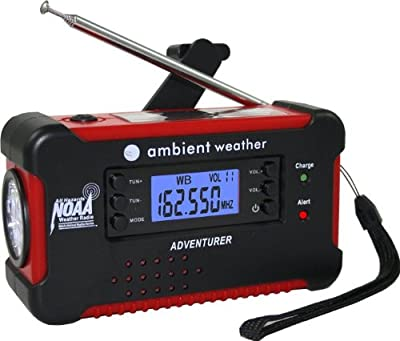 Ambient Weather Wr-111a Emergency Solar Hand Crank Amfmnoaa Digital Radio Flashlight Cell Phone Charger With Noaa Certified Weather Alert Cables by Ambient Weather