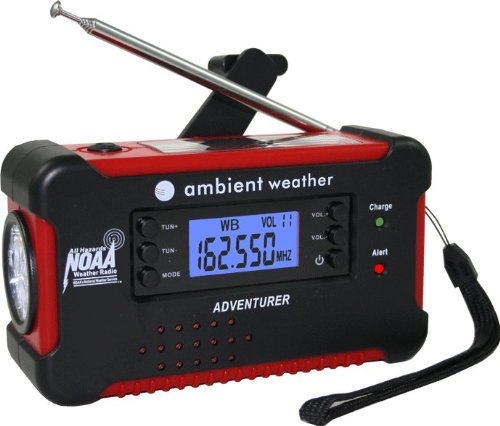 Ambient Weather Emergency Solar Hand Crank AM/FM/NOAA Digital Radio, Flashlight,数字收音机,手电筒,手机充电器