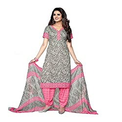 Varsha Women's Unstitched Churidar Kameez With Dupatta (Pink_Free Size)