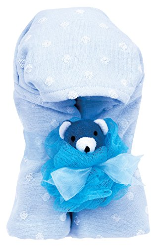 AM PM Kids! Hooded Towel with Baby Loofah, Blue Dot - 1