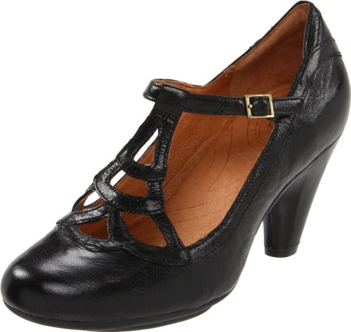 indigo by Clarks Women's Plush Weave T-Strap Pump,Black Leather,8.5 M US