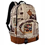 16.5 Inch Newspaper Pattern Urban Lightweight School Book Bag Backpack Daypack