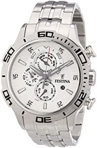 Festina F16565-1 Men's Vuelta Deciclista Silver Dial Stainless Steel Chronograph Watch