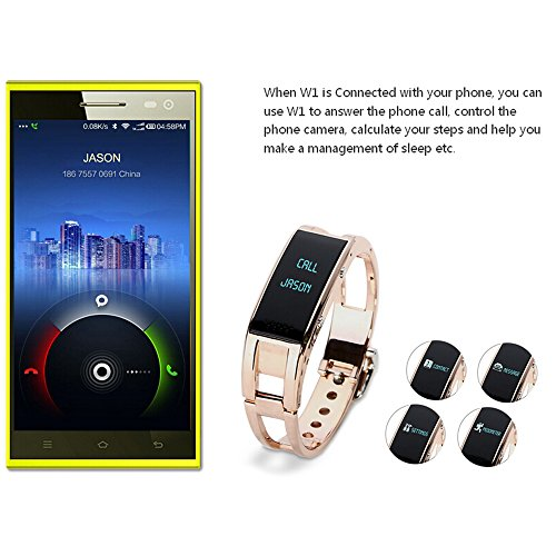 Rubility® Elephone W1 Smart Bracelet Bluetooth Watch Pedometer Call Message Sync Gold