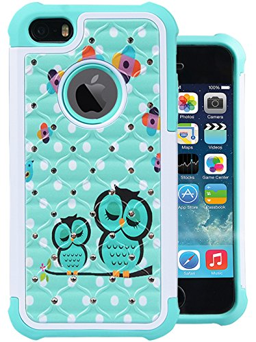 iPhone SE Case, MagicSky [Shock Absorption] Studded Rhinestone Bling Hybrid Dual Layer Armor Defender Protective Case Cover for Apple iPhone 5 /iPhone 5S / iPhone SE - Sleeping Owls (Iphone 5s Case Protective Owl compare prices)