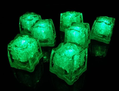 Rextin Water Submersible Decorative Light Ice Cubes Glow Party Wedding Rave Baby Shower Quinceneara Green Color12Pcs (Green)