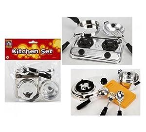 Children 39 s chrome kitchen set cooking toys for Kitchen set toys amazon