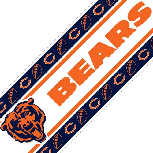 Nfl chicago bears wall border football peel n stick roll for Paintable peel n stick wallpaper