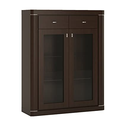 Furniture To Go Camden 2-Door 2-Drawer Glazed Cabinet, 99 x 127 x 35 cm, Dark Mahogany