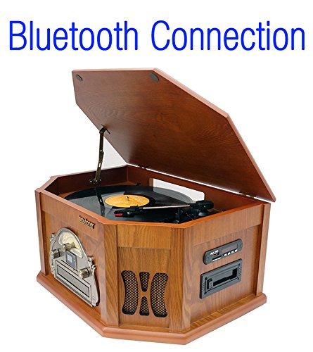 8-in-1-Boytone-BT-25WB-Natural-Wood-Classic-Turntable-Stereo-System-with-Bluetooth-Connection-Vinyl-Record-Player-AMFM-CD-Cassette-USB-SD-Slot-2-Built-in-Speakers-Remote-Control-MP3-Player