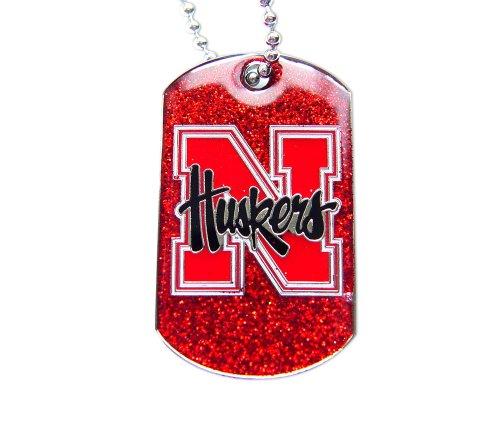 aminco Nebraska Cornhuskers Dog Tag Glitter Sparkle Necklace