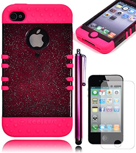 Bastex Hybrid Heavy Duty Glitter Bling Hard Case Cover For Apple Iphone 4, 4G, 4S 4Gs - Hot Pink Silicone Shell **Includes Screen Protector And Stylus** front-366918