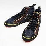 竜図 児島デニム ステッチ刺繍 ハイカット 和柄スニーカー/靴/生デニム/1410DF207HS--黒ゴールド--28cm