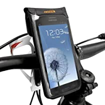 "Ibera USA Bicycle Waterproof Smartphone Case, 6"" screen (Samsung Galaxy S III, Galaxy S4, HTC One) (Black, (Q1) Bottle Cage Handlebar Mount)"