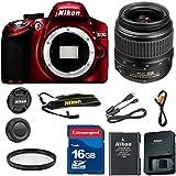 Nikon D3200 Red DSLR Camera Body Celltime Exclusive Bundle with Nikon 18-55mm DX Lens + Commander U.V. Filter + 16GB Commander Extremespeed Memory Card + Accessory Kit (Refurbished)