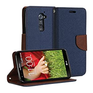 LG G2 Case, GMYLE (R) Wallet Case Classic For LG G2 D800 801 802 803 - Blue & Brown PU Leather Slim Magnetic Flip Stand Cover with Card slot and money pocket [Not fit for LG G2 mini]