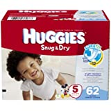 Huggies Snug and Dry Diapers Big Pack, Size 5, 62 Count