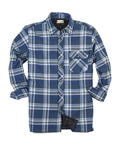 Backpacker Men's Flannel/Quilt Lined Shirt Jacket, Blue/Green, X-Large (Mens Quilted Flannel compare prices)