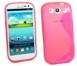 Kit Me Out UK TPU Gel Case for Samsung Galaxy S3 i9300 - Hot Pink S Wave Pattern