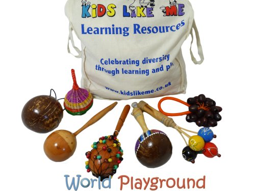Percussion Musical Instruments Set in Kids Like Me Canvas Bag (7 pieces) - Great Hand Percussion Instruments for Children!