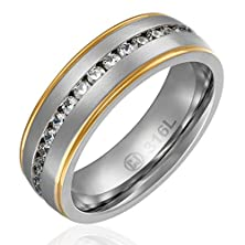 buy 8Mm Comfort Fit Jewelry Grade Stainless Steel Wedding Band | Engagement Eternity Ring With Channel Set High Quality Cz | Yellow-Gold Plated Edges [Size 10]