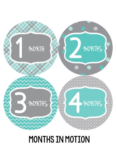 Months in Motion 132 Monthly Baby Stickers Baby Boy - Month 1-12