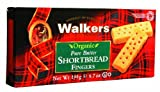 Walkers Organic Shortbread Fingers 190 g (Pack of 4)