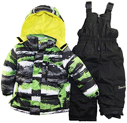 Big Chill Little Boys Brushed Paint 2 Piece Snowsuit With Ski Pant Set, Lime, 3T front-983954