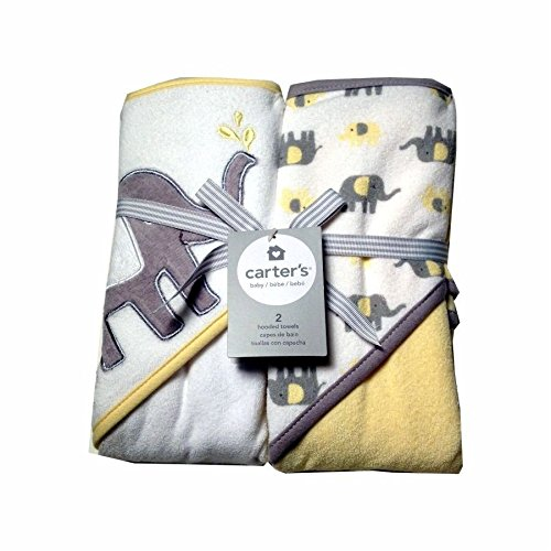 Carters Baby Hooded Towels-White/Yellow Elephant 2Pk (Hooded Towels Carters compare prices)