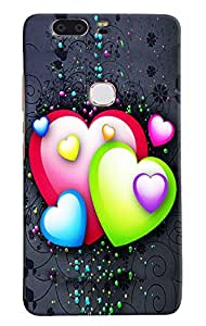Omnam Colorful Hearts With Black Background Printed Designer Back Cover Case For Huawei Honor V8