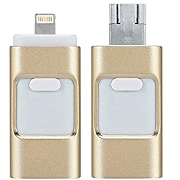 Mobile USB Flash Drive with Lightning Connector 3 in 1 socket for iPad 4/Air/Mini, iPod Touch 5, iPhone 5 5S 5C 6 6 Plus,Android system (16GB, Gold)