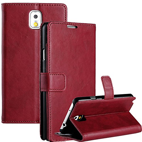 Mylife Burgundy Red {Smooth Texture Design} Faux Leather (Card, Cash And Id Holder + Magnetic Closing) Slim Wallet For Galaxy Note 3 Smartphone By Samsung (External Textured Synthetic Leather With Magnetic Clip + Internal Secure Snap In Closure Hard Rubbe