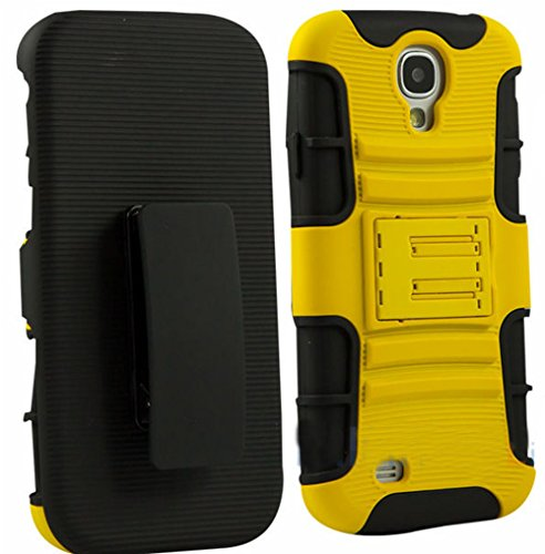 Mylife Yellow + Black Shockproof Survivor (Built In Kickstand) Hybrid 2 Layer Case For The Samsung Galaxy S4, I9500, I9505, Sph-L720, Galaxy S Iv, Sgh-I337, Sch-I545, Sgh-M919, Sch-R970 And Galaxy S4 Lte-A Touch Phone (Internal Flex Silicone Bumper Gel +
