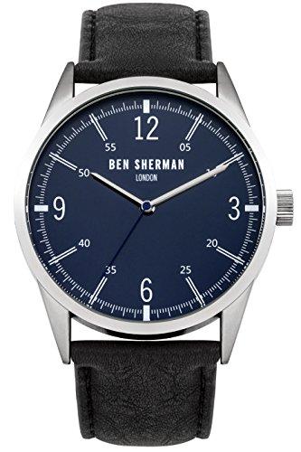 ben-sherman-herren-armbanduhr-mit-blauem-zifferblatt-analog-leder-schwarz-gurt-wb051ub
