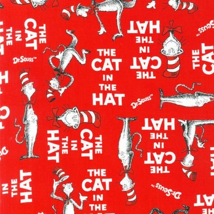 The Cat In The Hat Minky Cuddle Cat Walk Red Fabric front-730131