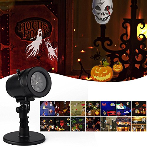 KOBWA LED Projector Light 14 Interchangeable Patterns Snowflake Landscape Spotlight Night Light for Christmas Halloween Party Birthday Holiday Landscape Decoration